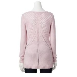 Pink Knit Pullover V Neck Sweater Long Sleeves Top